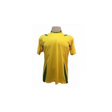 Jogo de Camisa com 14 unidades modelo Palermo Amarelo Verde + 1 Goleiro +  Brindes ac1257cd70ca1