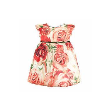 Vestido Infantil Rodado Estampa Rosas Grandes com Fita Veludo - Té Roupa de Criança