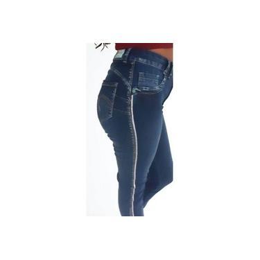 Calça Bivik Jeans Cós alto e Strass