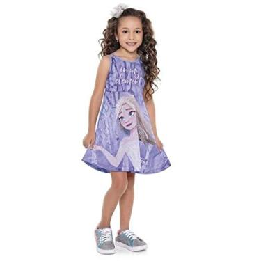 Vestido Infantil Verão Frozen II, Cor Lilás, Produto Oficial - Fakini
