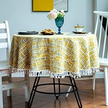 Imagem de jia cool Toalha de mesa redonda, capa de mesa listrada de sarja nórdica lavável decoração de jantar para o Natal (220 cm lindo bege)