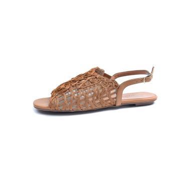 Rasteira Avarca Scarpan Calçados Finos Sandália em Tecido Tramado Caramelo  feminino