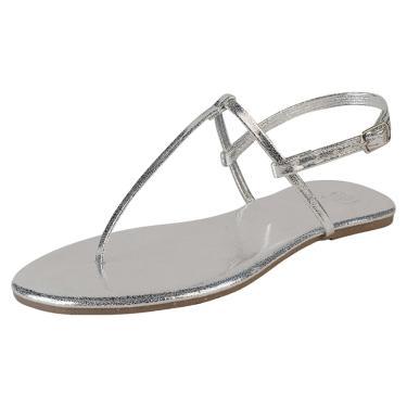 Sandália Rasteira Mercedita Shoes Prata  feminino
