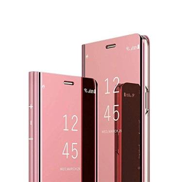 Capa para smartphone ESSTORE-EU para Xiaomi Redmi Note 9S, capa protetora ultrafina com visor transparente com função de suporte, ouro rosa