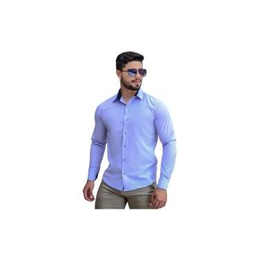 Camisa Social Masculina Slim Manga Longa Tricoline Lilas