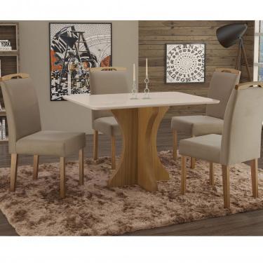 Imagem de Conjunto Sala de Jantar em Madeira Maciça Mesa Tampo de Vidro Turim 4 Cadeiras Priscila Espresso Móveis Imbuia Natural/Suede 15