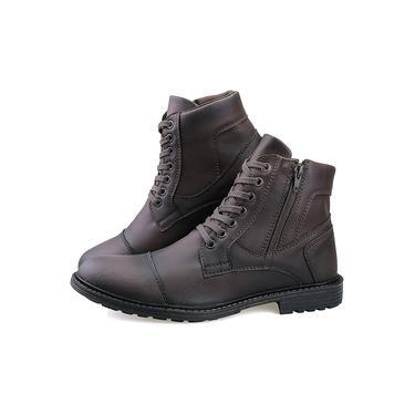 Bota Masculina Sapato Coturno Casual Super Leve C/ziper Marrom