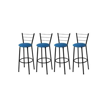 Kit 4 Banquetas Alta Preta com Assento Azul Fortmix