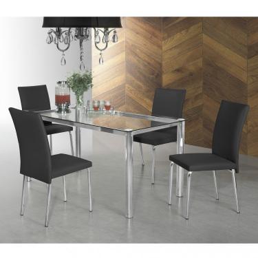 Imagem de Conjunto Sala de Jantar Mesa Tampo de Vidro 4 Cadeiras Viana Espresso Móveis Preto