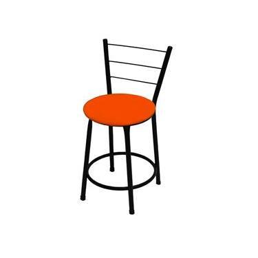 Banqueta Baixa Itália Preta C/ Assento Laranja Ideal P/ Bar Restaurante Cozinha