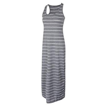 Homyl vestido longo sem mangas feminino longo, listrado, vestido de praia, cinza, preto/azul P-2GG