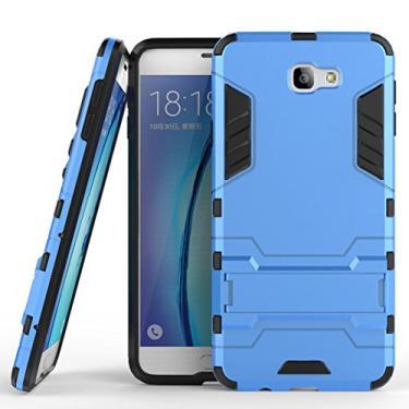 Capa híbrida para Samsung Galaxy On7 (2016), Galaxy On7 (2016), capa à prova de choque, capa rígida híbrida de proteção de camada dupla com suporte para Samsung Galaxy On7 de 5,5 polegadas (2016) (azul marinho)