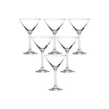 Jogo 06 Taças Martini Drinks 250ml Vidro Nadir Windsor