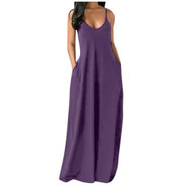 Shakumy Vestido feminino casual de verão floral boêmio, sem mangas, vestido longo de praia, vestido solto de festa, túnica rodado, Z4 - roxo, L