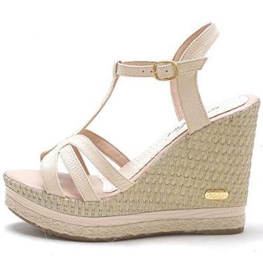 Sandália Plataforma Anabela feminina em Jeans/couro legitimo ref. 3205 (36, amendoa)