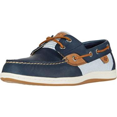 Sapato náutico feminino listrado Sperry Koifish Seersucker, Navy/Lt. Blue, 5.5
