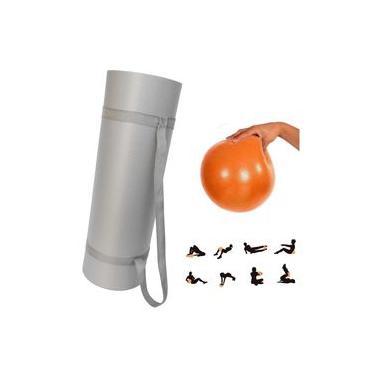 Kit Bola Overball 25cm Yoga e Pilates + Tapete Eva 1,70 Mts com Alca Cinza