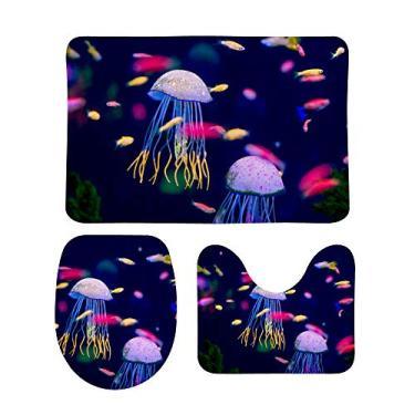 Imagem de Top Carpenter Conjunto de 3 peças de tapetes de banheiro antiderrapantes coloridos de peixe e água-viva + tampa de vaso sanitário + tapete de banheiro para decoração de banheiro