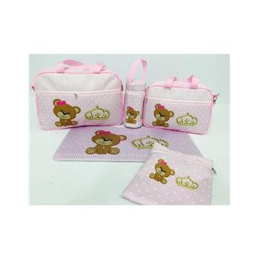Bolsa de bebe maternidade kit 5 pçs ursinho coroa