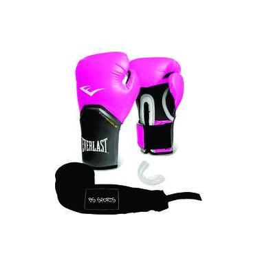 0fb50c1e2658e Kit Luva Everlast Pro Style Elite Rosa 14oz Bandagem bucal
