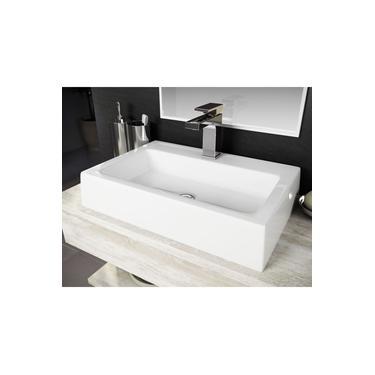 Cuba Pia De Apoio Para Banheiro Toleato Retangular Athenas 57.5 Cm Marmorite Branco