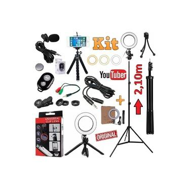 Kit Youtuber Profissional Microfone de Lapela + Tripé 2,10m Câmera Celular Luz Led Iluminador Anel Ring Light 3 Cores Universal Iphone Android + Kit Lentes Controle Bluetooth