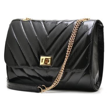 Bolsa Hendy Bag Couro Preto Verniz  feminino