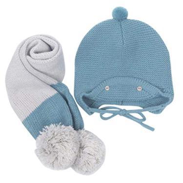 SOIMISS Lenço para boné de lã quente para bebês Boné e lenço de duas peças (azul)
