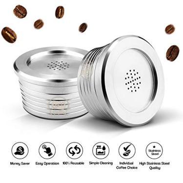 Imagem de Aibecy Cápsulas de café reutilizáveis de aço inoxidável Filtro de copo de cápsula de café reutilizável compatível com Delta Q
