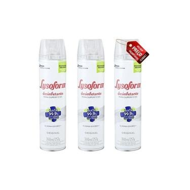 Desinfetante Lysoform Spray Aero Mata Vírus Bactérias 3 Unid