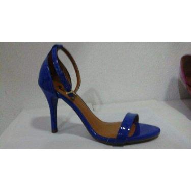 - Sandalia Azul Verniz Tira Salto Alto Fino
