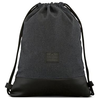 Bolsa de Algodão com Cordão – Bolsa de Gymsack Masculina e Feminina JOHNNY URBAN Canvas, Anthracite / Black, One Size