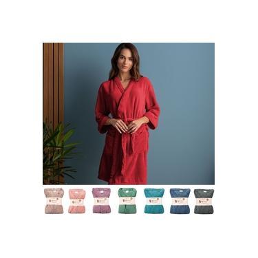 Imagem de Roupão G Plush Microfibra Kimono Unissex Feminino e Masculino Atlântica - Emcompre