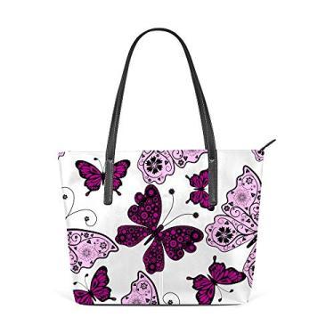 U LIFE Bolsa de ombro grande de couro PU alça superior borboleta violeta para mulheres e meninas