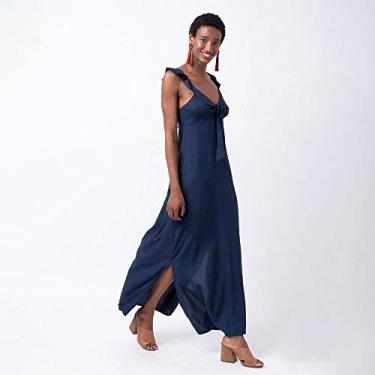Vestido longo alça babado tecido liso P