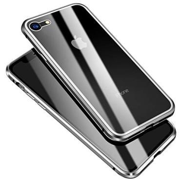 """EUDTH Capa para iPhone SE (2020), 360° moldura de metal de adsorção magnética de corpo inteiro flip 9H vidro temperado [frontal e traseira] cobertura total da tela para iPhone SE (2020) 4,7"""" - Prata"""