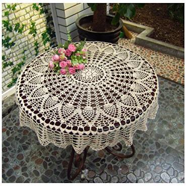 """Imagem de WSHINE Capa de mesa redonda vintage de crochê com renda Toalha de mesa para decoração de móveis, Bege, 35.4"""""""