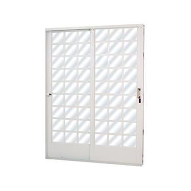 Porta de Correr em Aço Quadriculado 2 Folhas Vidro Liso MGM 2,15m x 1,60m Esquerda