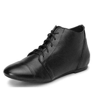 Bota Feminina Casual Confort Cano Curto Ankle Boot Cavalaria Cor:Preto;Tamanho:35