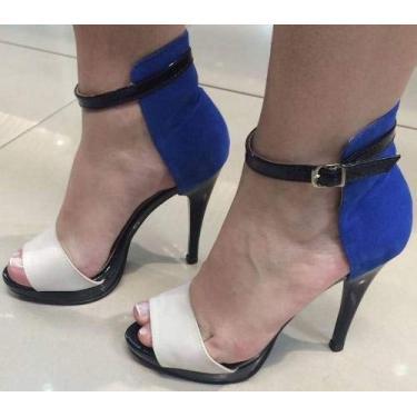 - Sandália Pata Salto Alto Fino Azul Royal Bic Branco Camurça