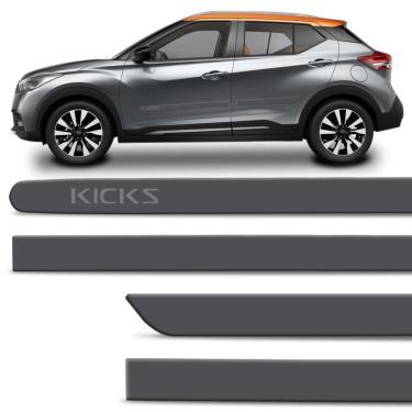 Jogo De Friso Lateral Nissan Kicks 2017 2018 2019 2020 Pcd Cinza Grafite Com Grafia 4 Portas