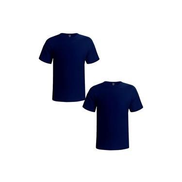 Kit 2 Camisetas Masculinas Lisa Básica Malha Pv cor Azul Marinho Estilo Boleiro