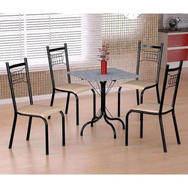 Imagem de Conjunto De Mesa Malaga Com 4 Cadeiras Lisboa Preto Prata E Nature Beg