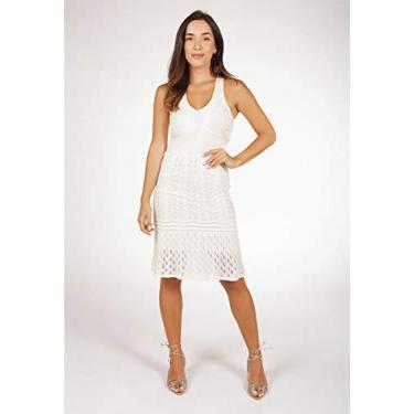 Vestido Bella Store Curto De Tricô Com Decote V Frente Única E Transpassado Nas Costas Rendado Feminino Cor:Creme;Tamanh