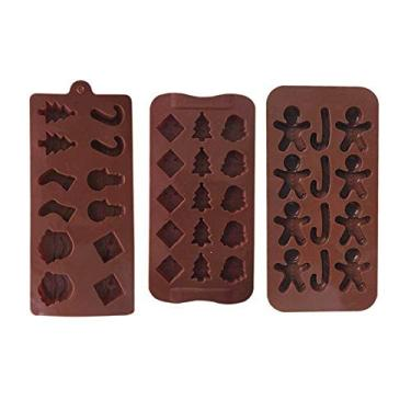 Moldes de chocolate, molde de chocolate de Natal Ferramentas de cozimento de três peças Molde DIY Cookie Ice Cube Molde Molde de silicone Ferramentas de molde de bolo