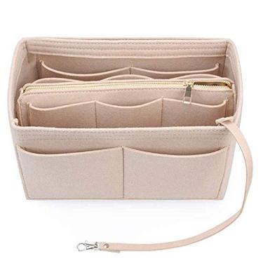 KYSA Bolsa de maquiagem, bolsa organizadora de feltro com zíper, bolsa de mão, multibolsos, bolsa de armazenamento grande portátil, Caqui, 3