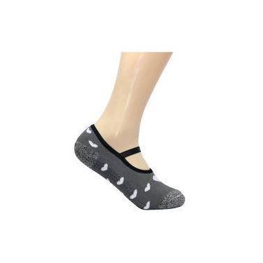 Meia Pilates Feminina Ted Socks - Coração Cinza