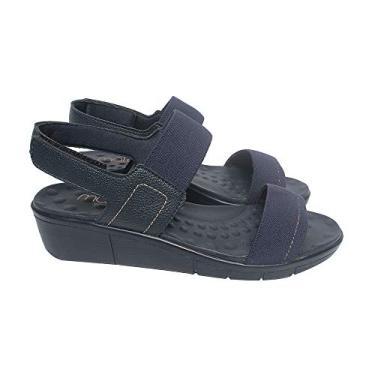 Sandália com Velcro Malu Super Comfort Maria Feminino Marinho 35