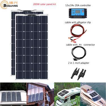 Boguang Brand Solar panel 2pcs 100w Sistema de Painel Solar Flexível 200W Módulo da Célula Carro RV