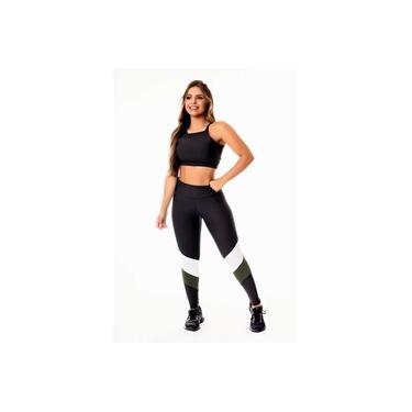 Imagem de Conjunto Fitness Feminino Calça Legging Preta com Verde Militar e Branco Cintura Alta e Cropped Alcinha Academia